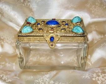 SALE! Antique Czech Jeweled Filigree Ormolu-Heavy Crystal Casket Box-Lapis Gemstones & Rhinestones-Glass Cabochons-Hinged Dresser Vanity Box