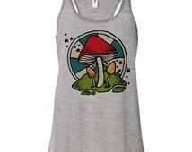 70's Mushroom Racerback Tank, Music Festival, Trippy Shirt