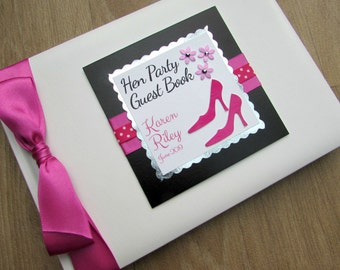 Hen Party Guest Book Personalised Retirement Birthday Memory Book Journal Gift Shoes & Flowers Cerise Black