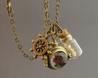 Nautical Locket Necklace, Diving Helmet with Treasure Map and Ship's Wheel, # 1241, 1242