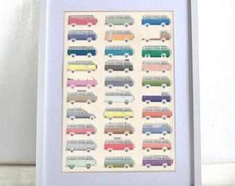 VW Camper Van Poster Wall Art Print