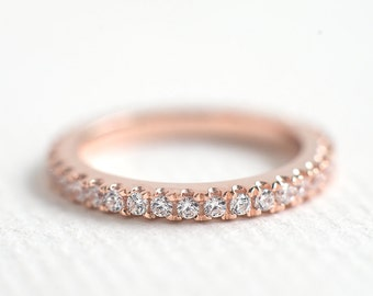 Rose Gold Wedding Band - 2mm Full Eternity Band - Rose Gold Stacking Ring - Micro Pave Band - Promised Ring - Wedding Ring