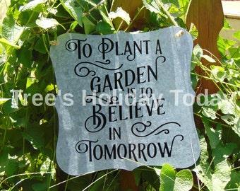 Tin Garden Sign, Metal Garden Sign, Handmade Sign, Gardening Gift, Garden Sign, Garden Decoration, Housewarming Gift, Vinyl Sign, Garden Art