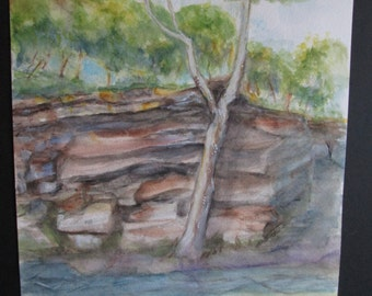 Mollies Rock Original Watercolor Painting!