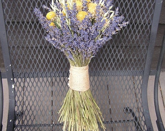 Lavender Dried Wedding Bouquet, Bridal Yellow and Lavender Bouquet, Dried Country Bunch, Rustic Dried Arrangement, Table centerpiece