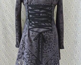 Sale!!GRAY LACE JACKET cardigan fleece crochet gypsy Steampunk Pixie Tribal