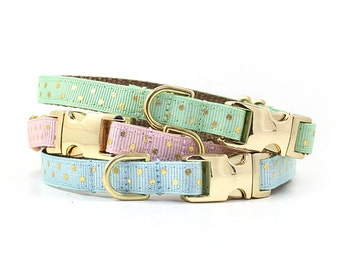 Polka Dot Collar // Cats & Little Dogs // 3/8 inch width // NON-Breakaway Metal Buckle // Pattern: Gold Dots on Mint, Pink and Blue
