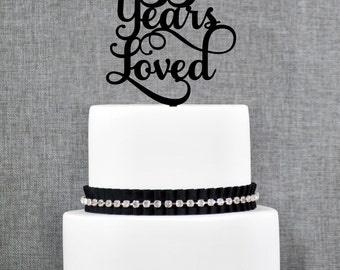 55 Years Loved Birthday Cake Topper, Elegant 55th Anniversary Cake Topper, 55th Cake Topper- (T245-55)