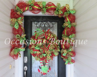 Christmas Wreath with door garland, Holiday wreath, Elf wreath, Large Christmas Wreath, Christmas decoration, Whimsical Wreath