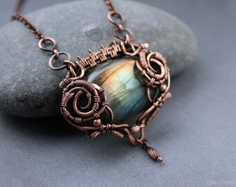 Labradorite pendant Wire wrap pendant Copper pendant  Wirewrap pendant  Labradorite Handmade necklace Wirewrapped jewelry  Gemston necklace