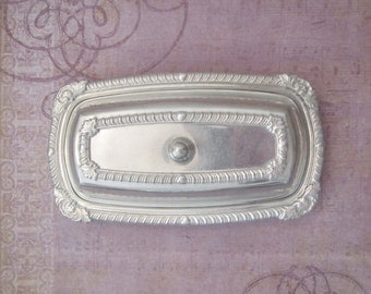 Vintage Aluminum Ornate Covered Butter Dish