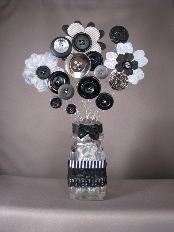 Button bouquet vintage salt shaker button flowers black white for Michaels crafts button maker