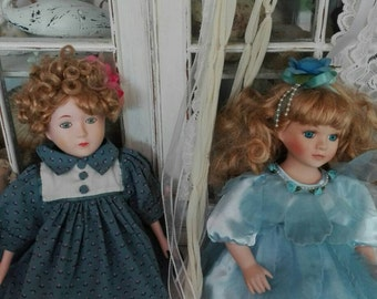 Perfect vintage dolls two wonderful Shabby chic, heavenly Blue ceramic doll collection Dolls VINTAGE