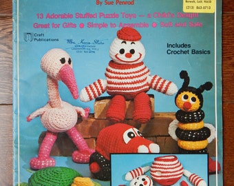 Crochet Puzzle Toys Patterns/ Crochet Puzzlements by Sue Penrod/ 13 Stuffed Puzzle Toys, Soft and Safe, Simple to Assemble, Great gifts