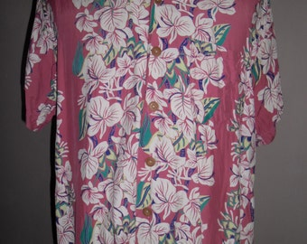 Sun Surf Hawaiian Pink Rayon Shirt , Pattern Vertical ''Orchids Border'' ,Toyo made in Japan , Superb Condition