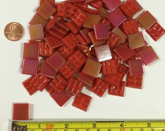 1/2'' Cherry Red Iridescent Glass Mosaic Tile, Red Mosaic Tile, Iridescent Mosaic Tile, Mosaic Tile
