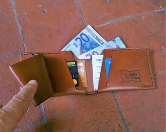 Bifold Leather wallet - Cheques holder - Mens Wallet - italian leather CARAMEL - Leather card holder - Hand stitched Italian Leather.