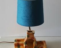 Vintage Fireplace Lamp, Southwestern, Adobe Brick Fire Pit, Desk or Dresser Organizer