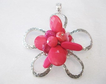 Jewelry Supplies ~ Huge  Flower  Pendant   Pink Beads  Silver    3 1/2""