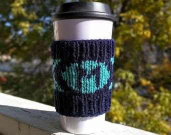 Design your own monogrammed knit coffee cozy sleeve available in many colors