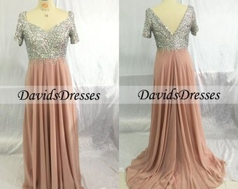 Champagne Beaded Prom Dresses Long, Custom Short Sleeves Prom Dress With Beading