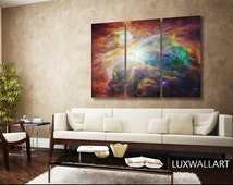 Space Wall Art Orion Nebula Ready to Hang Framed Space Art tryptich 3 Panel