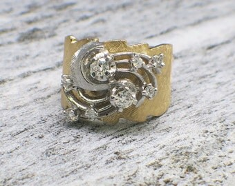 Two Tone Diamond Ring with Textured Band and Swirl Setting