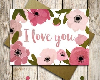 Mothers day cards, Love card, Valentines day cards, Anniversary card, card for her, pink greeting card, I love you card, custom card