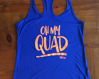 Oh My Quad Athletic Dry Wick Royal Blue Neon Orange Gym Exercise Tank Top Singlet