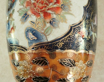Large Chinese Floor Vase Vintage Guangdong Ceramics Painted with Blue, Rust, Gold and White
