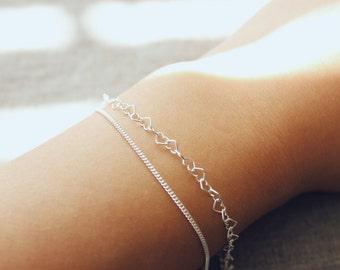 Silver Heart Bracelet - Layered Sterling Silver Bracelet - Minimalist Jewelry