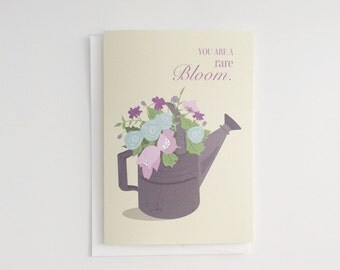"""BLOOM GREETING CARD, """"Just Because"""" Card, 5x7 Greeting Card, Appreciation, """"You are a rare bloom."""""""