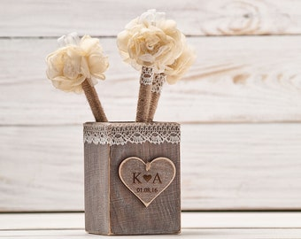 Guest Book Pen Holder Wedding Pen Rustic GuestBook Pens Rustic Holder Burlap Pen Flower Wedding Pen Shabby Chic Pen