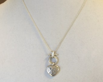 Sterling Silver Chucnky Heart Pendant Necklace 18""