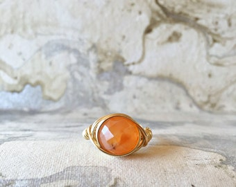 Gold Wire Wrapped Ring with Carnelian Gemstone   Gemstone Ring   Womens Rings   Gold Rings   Stacking Rings   Boho Rings