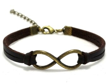 Leather Infinity Bracelet, Infinity Jewelry, Leather Bracelet, Unisex Bracelet, Men Leather Bracelet, Mens bracelet, Bohemian Bracelet