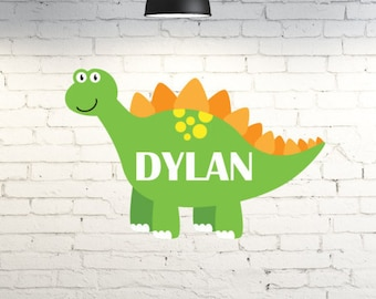 Vinyl wall art for kid's room.  Dinosaur wall decor personalized with child's name.  Custom bedroom wall vinyl decal. Little boys room.