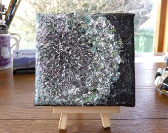 Small dandelion painting on 4x4 canvas, textured semi-abstract art with optional display easel, original art, wishes not weeds, unique gift