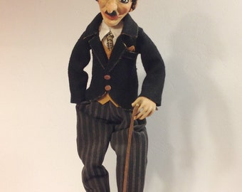 Paper clay-Interior doll-Charlie Chaplin-Collecting doll-OOAK other-Clay doll-Decorative doll-Human figure doll-Art clay doll-Doll artist