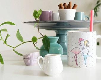 """Design """"Flamingo"""" (11 oz) ceramic mug. Handmade mug. Coffee Cup. Modern mug. The generous"""