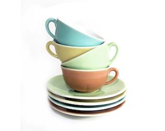 4 French Cups of Coffee, Espresso Set with Saucer, Expresso Cups,  Tea Service, Pastel Bowl Café au Lait