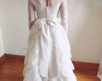 Lace 50s Wedding Dress/ Romantic/ tiered lace/ Bridal Originals