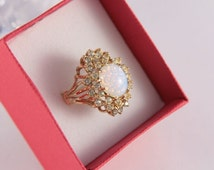18KT Gold Statement Ring Milk Opal CZ Gold Plated Multistone Ring Gold Filled Washed SZ 7 HGE Gold Ring Big Gold Ring Excellent Condition