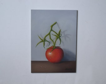 Original 5x7' acrylic red tomato painting, small still life painting, kitchen painting, food artwork, vegetable painting, chef, miniature