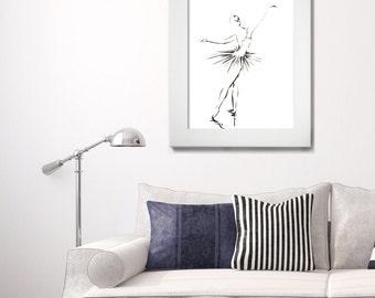 Ballerina Print, Minimalist Wall Art, Ink Drawing Art Print, Ballet Print, Modern Decor