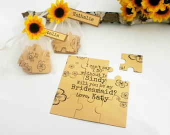You Be My Maid of Honor Bridesmaid  Proposal card Willyou Be My Bridesmaid Rustic Invitation Puzzle Proposal Card with Sunflower