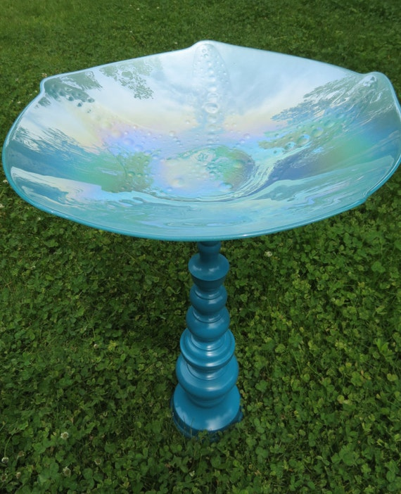 Beachy Aqua Turquoise Starfish Art Glass Bird Bath / Bird Feeder / Sun Catcher w/ Teal Pedestal Upcycled Materials
