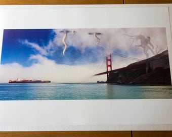 Cthulhu & Golden gate bridge Limited Edition Art Print Signed and Numbered.