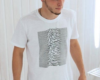 Pulsar Artwork as used by Joy Division on Unknown Pleasures T Shirt - Minimal Print - Hand Screen Printed Tee or Tank Top Vest Cami