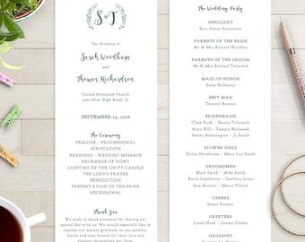 Wedding program template printable order of service template rustic printable program | Leaves wreath | Royal Gardens | Editable template